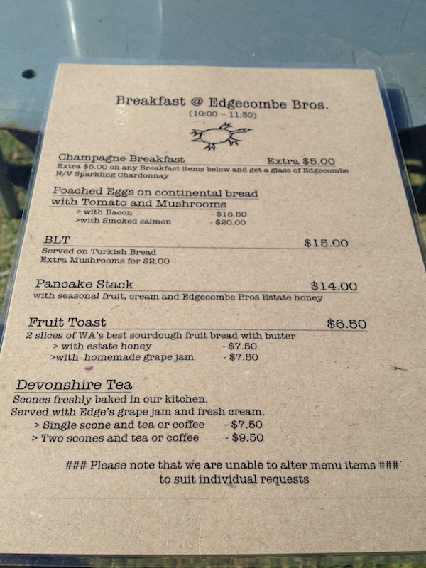 Edgecombe Brothers Winery Breakfast Menu