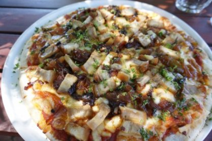 Slow roasted pork belly and apple sauce pizza at The Laughin' Barrel in the Swan Valley