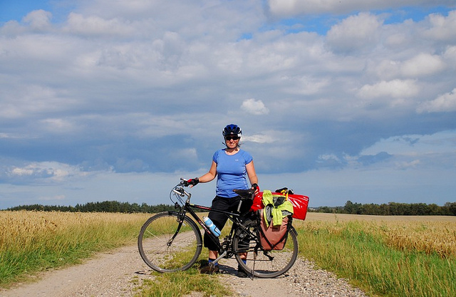Friedel on her $100 U.S. touring bike.