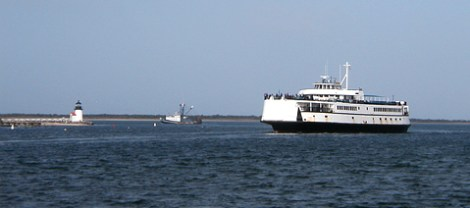 Incoming car ferry rounding Brant Point.