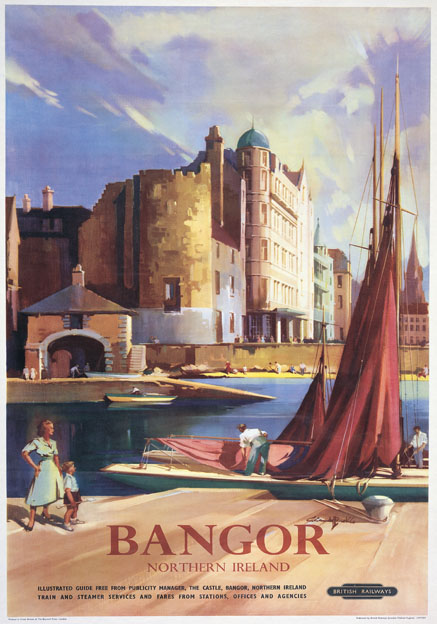 Deco Poster Bangor County Down Northern Ireland. Vintage Irish Travel