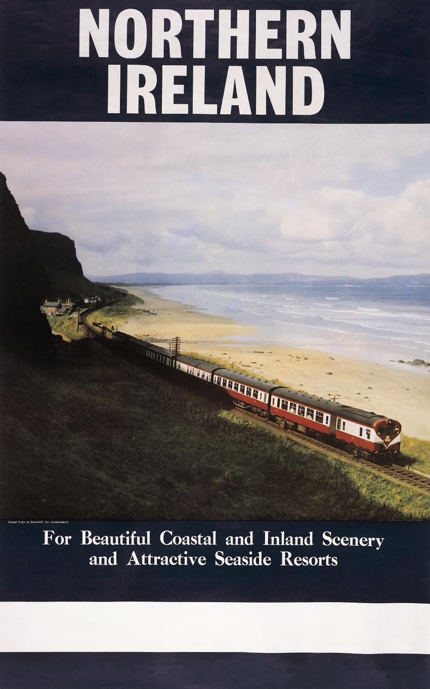 Poster Strand Downhill Benone Strand Beach And Train Travel Poster Donegal In