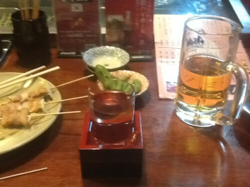 Sake, beer and yakitori