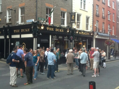 Outside the Duke during The Dublin Literary Pub Crawl