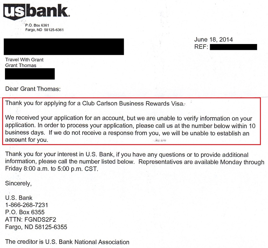 Club Carlson Biz Rejection Letter Travel with Grant