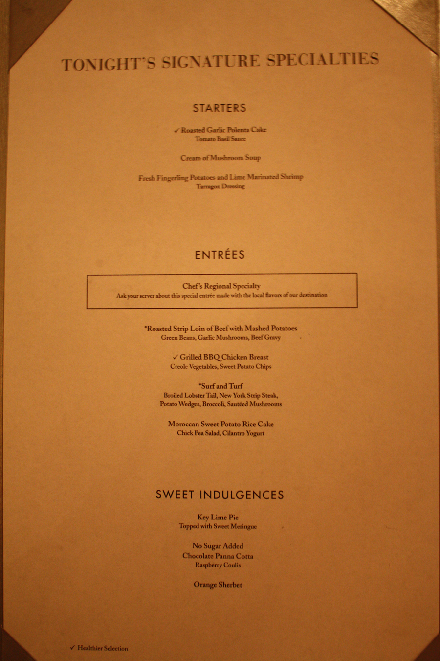 Norwegian Jewel Tsars Dinner Menu Night