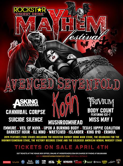 Avenged Sevenfold And Korn To Headline 2014 Mayhem Festival Avenged Sevenfold And Korn To Headline 2014 Mayhem Festival