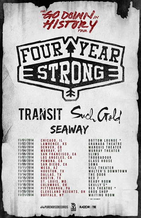 Four Year Strong Announce November Tour With Transit Such Gold Seaway Four Year Strong Announce November Tour With Transit, Such Gold, Seaway