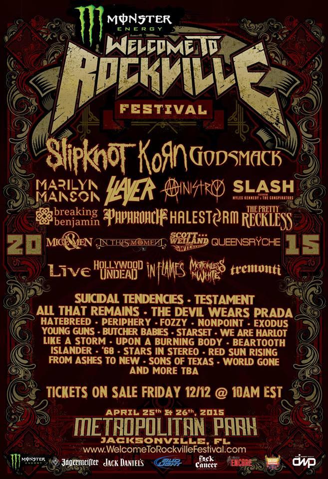 2015 Fort Rock Festival Slipknot, Korn, Godsmack To Headline 2015 Welcome to Rockville