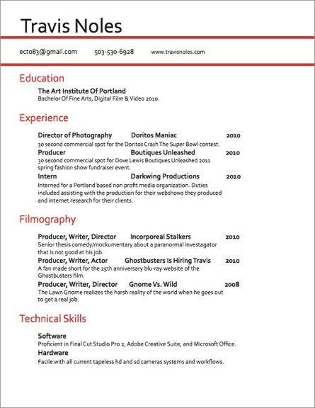 Videographer Resume Cover Letter - video production resume samples