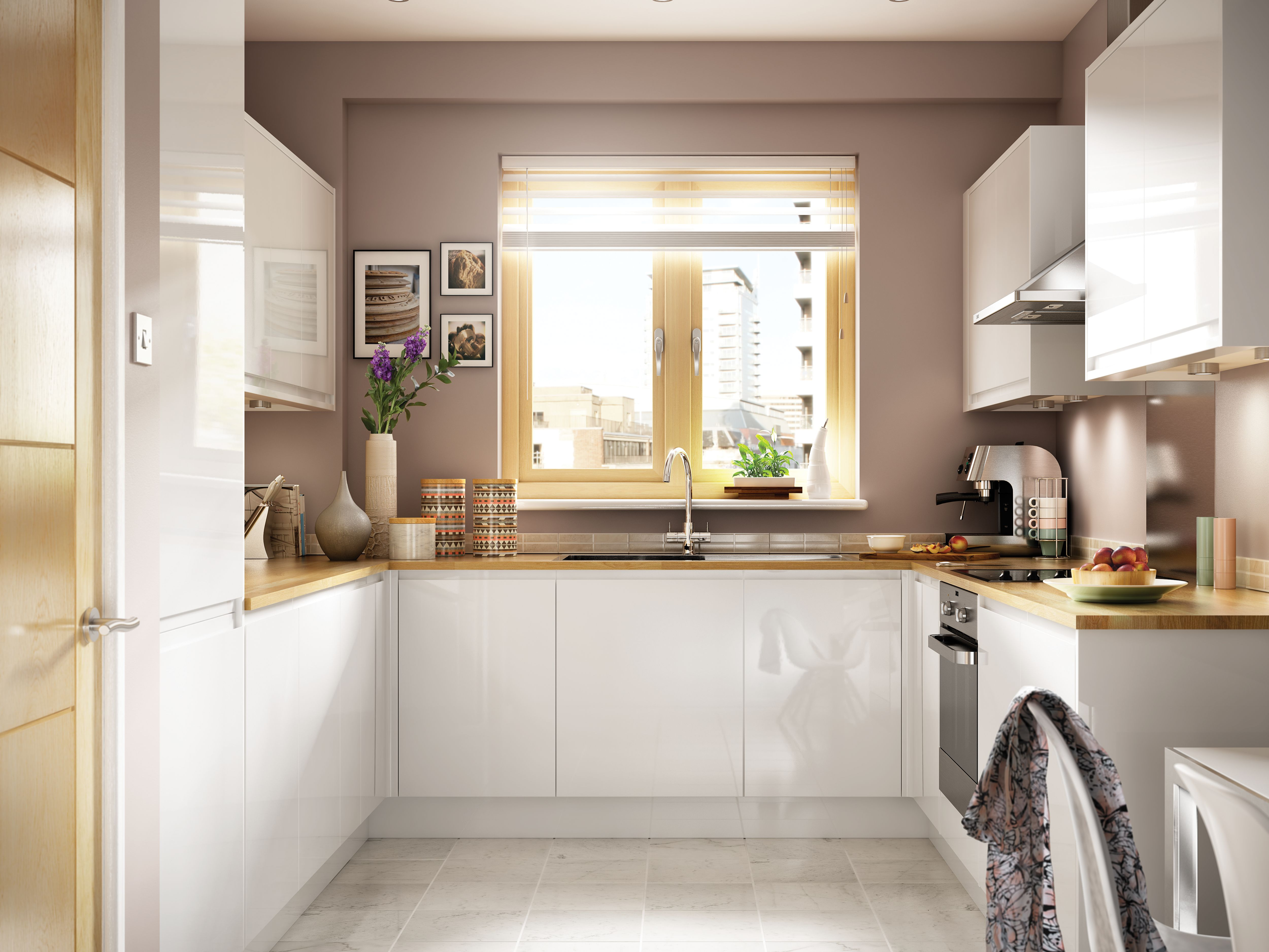 High Gloss Kitchen Cabinet Doors Uk Madison - White Handle-less Kitchen | Wickes.co.uk