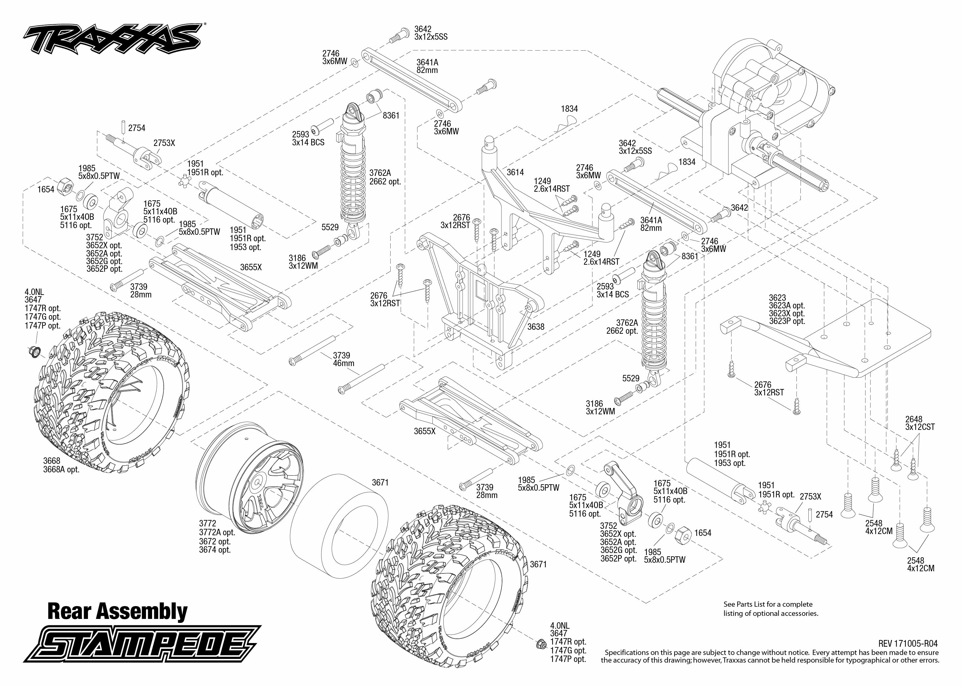Stampede 36054 1 Rear Assembly Exploded View Traxxas