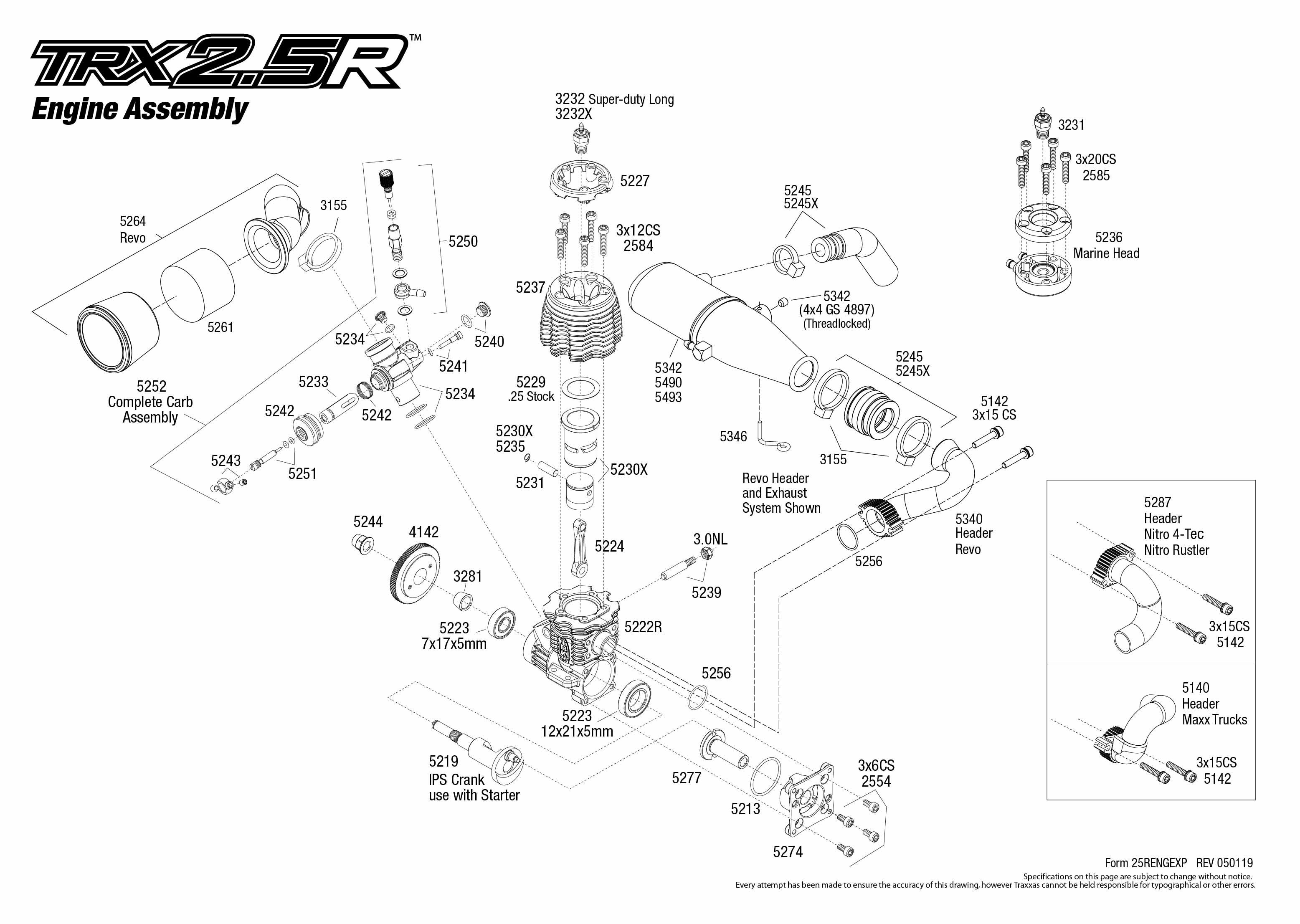 traxxas 2.5 engine parts diagram