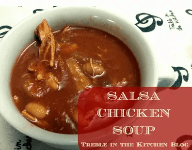 Crockpot Salsa Chicken Soup via Treble in the Kitchen