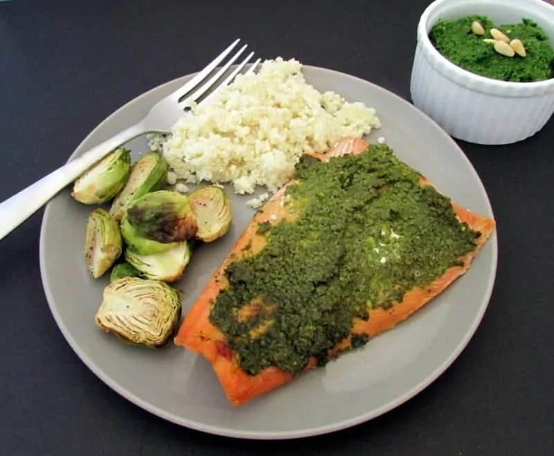 kale pesto salmon via treble in the kitchen