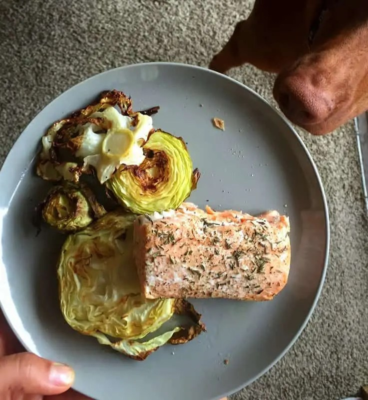 salmon with cabbage