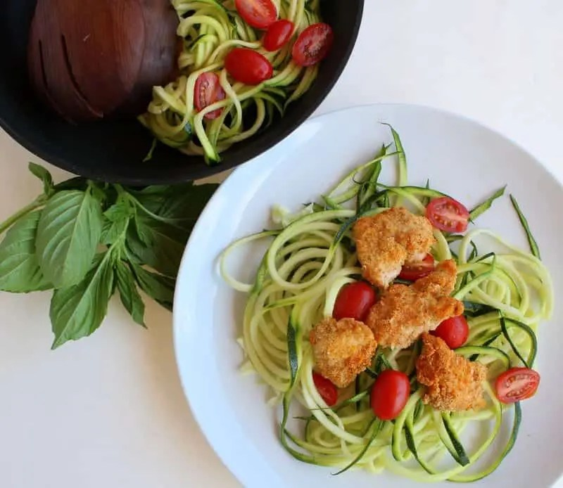 Lemon herb zoodles with almond chicken treble in the kitchen for Zoodles kitchen set