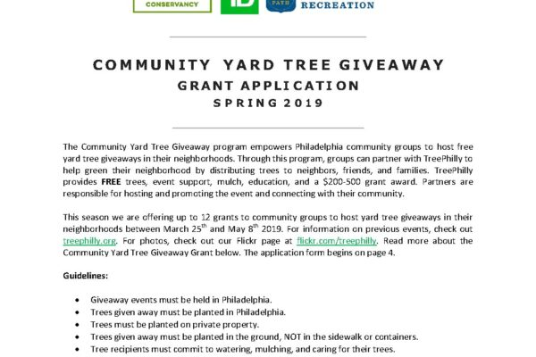 TreePhilly Community Yard Tree Giveaway Grant Application S19