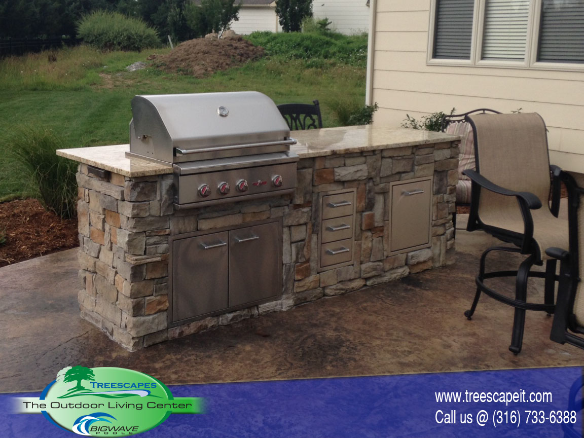 Big Island Kitchen Design Outdoor Kitchens | Pools | Wichita, Ks. | Treescapes