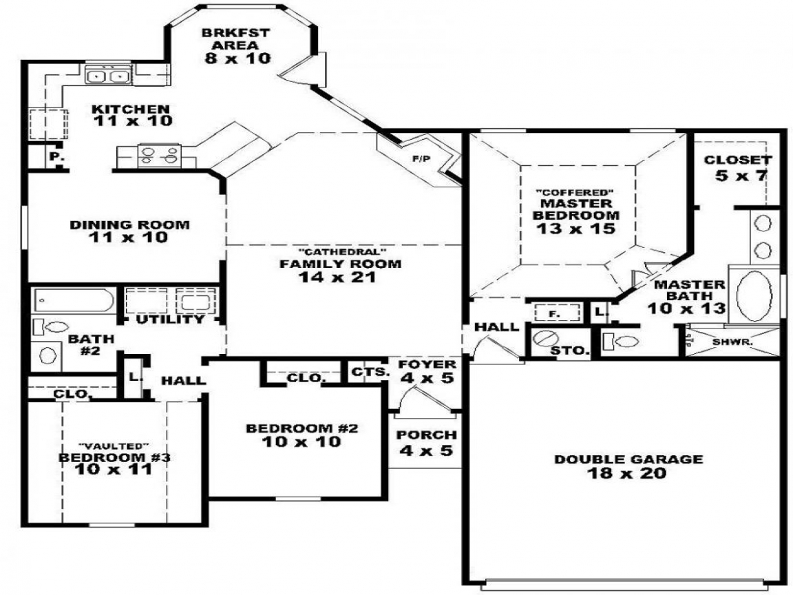 1 Bedroom 2 Bathroom House Plans One Story 3 Bedroom 2 Bath House Plans 3 Bedroom Apartment