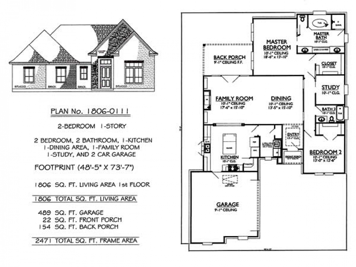 1 Bedroom 2 Bathroom House Plans Story 2 Bedroom 2 Bathroom 1 Dining Room 1 Family Room