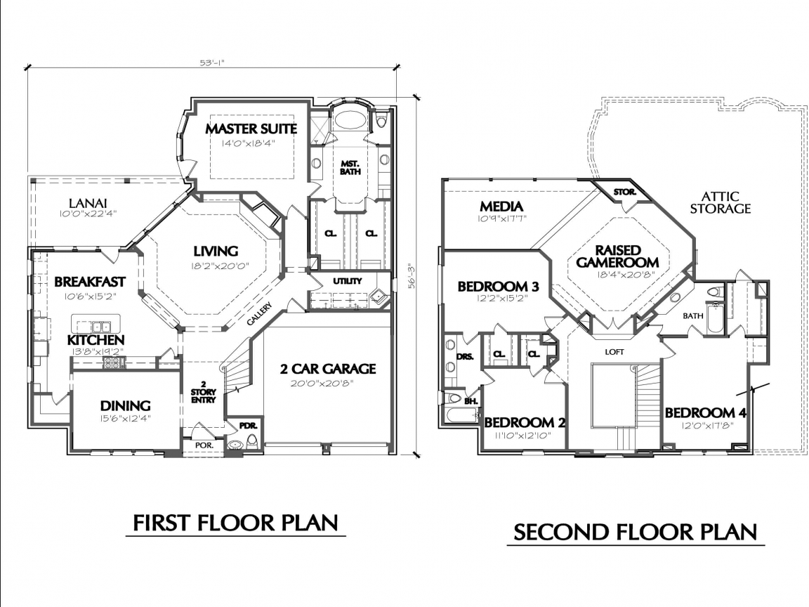 2 Floor House Design Two Story House Floor Plans Simple Two Story House Two