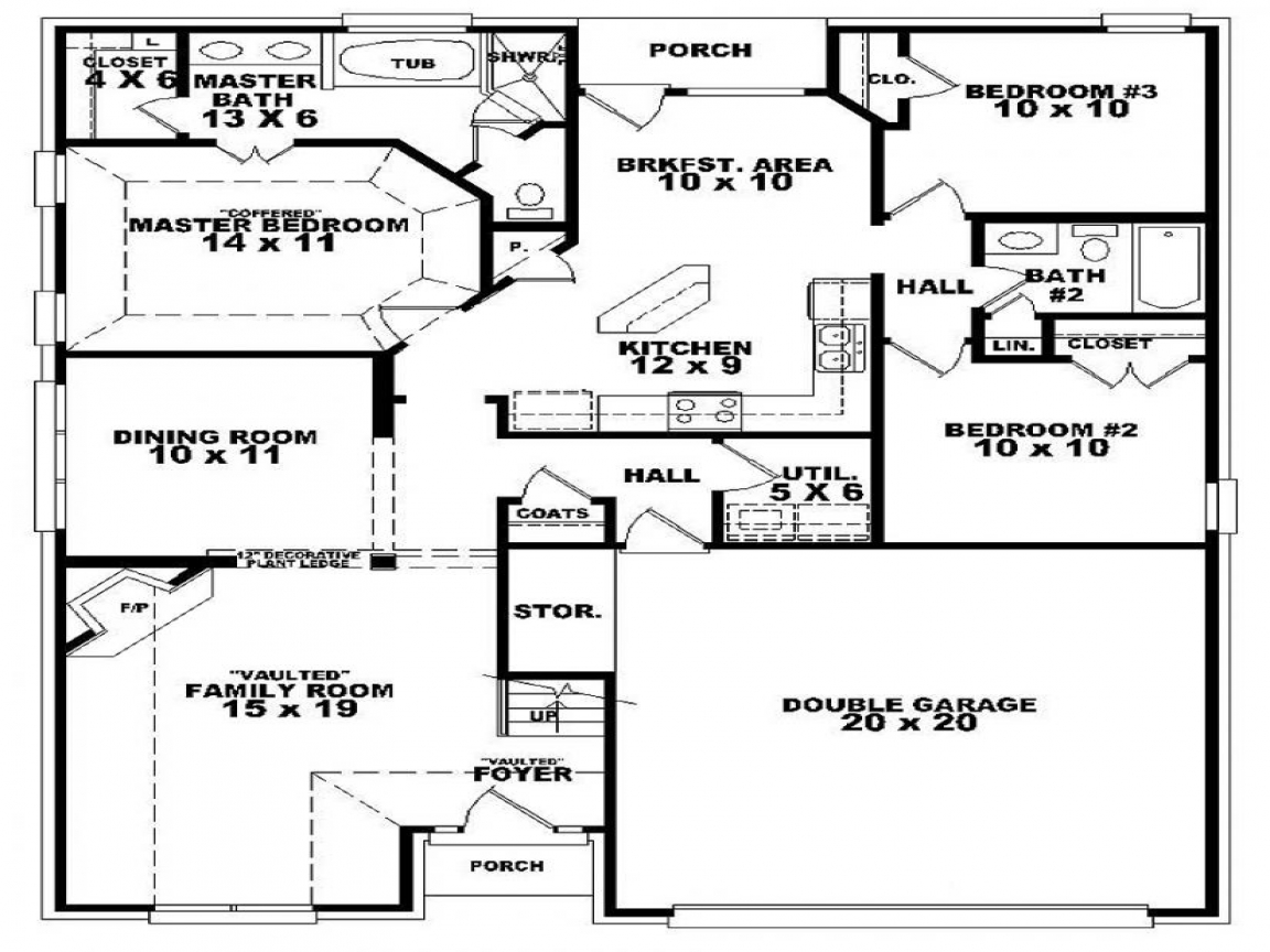1 Bedroom 2 Bathroom House Plans 3 Bedroom 2 Bath House Floor Plan 3d 3 Bedroom 2 Bath