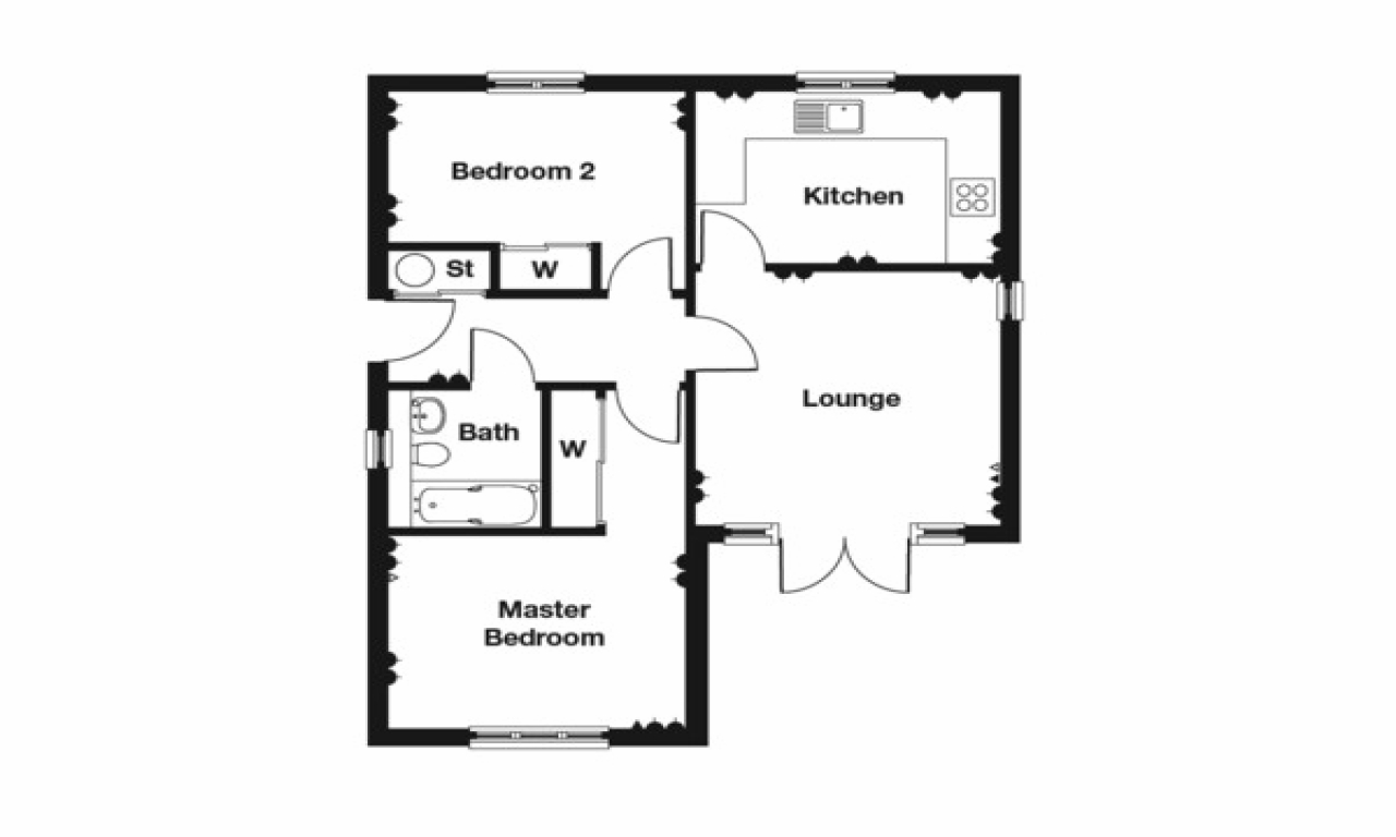 2 Bedroom House Design 2 Bedroom Bungalow Floor Plan 2 Story Bungalow House Plans