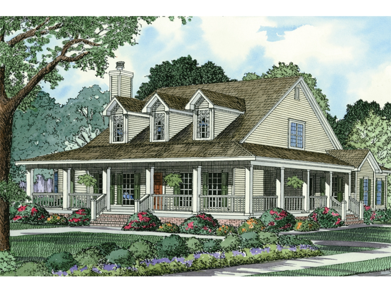 French Country Small House With Wrap Around Porch French Country House Plans Country Style House Plans With