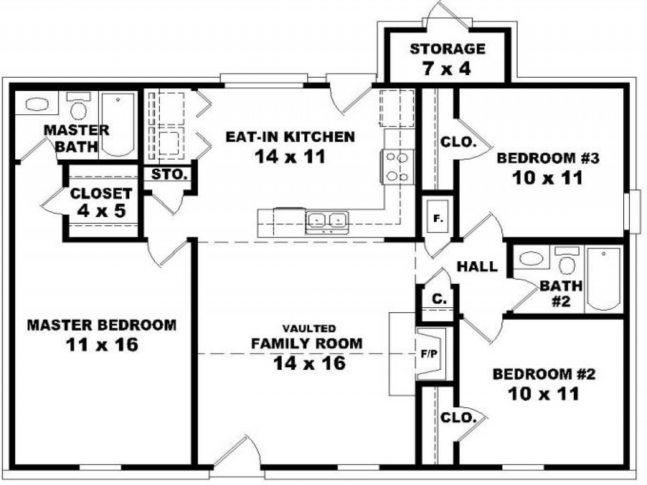 1 Bedroom 2 Bathroom House Plans House Floor Plans 3 Bedroom 2 Bath Floor Plans For 3