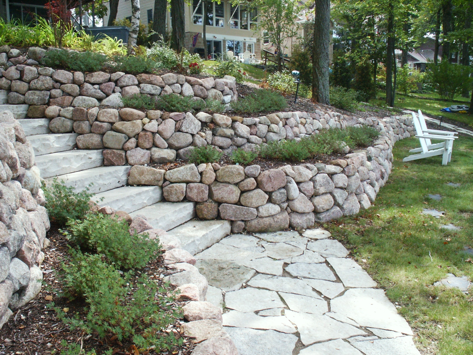 Terras Stenen Retaining Walls And Outcroppings Treetops Landscape