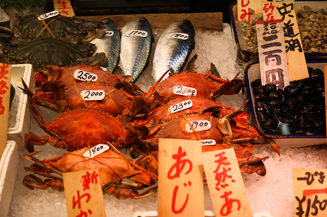 Different types of crabs at Nishiki