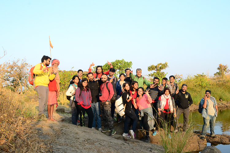 The group of successful trekkers atop the fort. Can you spot me? (Pic Courtesy: Sayantani Saha)