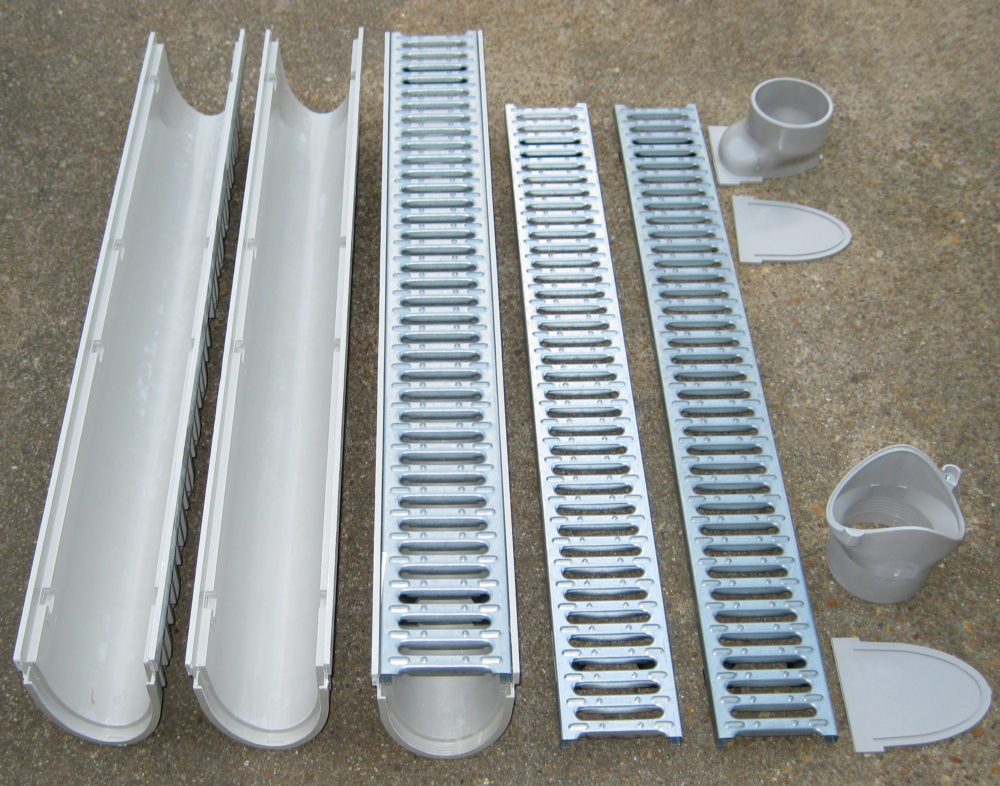 How To Stop Water Runoff From Neighbors Yard Mea-josam Cps100-60 - 60' Complete Trench Drain Kit, 4
