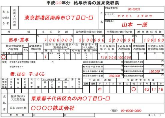 源泉徴収票の見方例