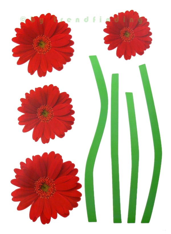 Gerbera Rot Wandtattoo Wandtattoos Tattoo Home Sticker Gerbera Rot | Ebay