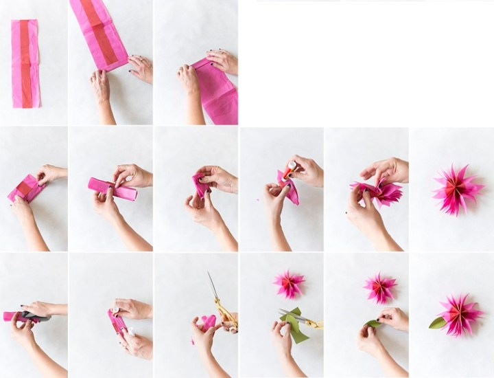 Tissue flower gift toppers