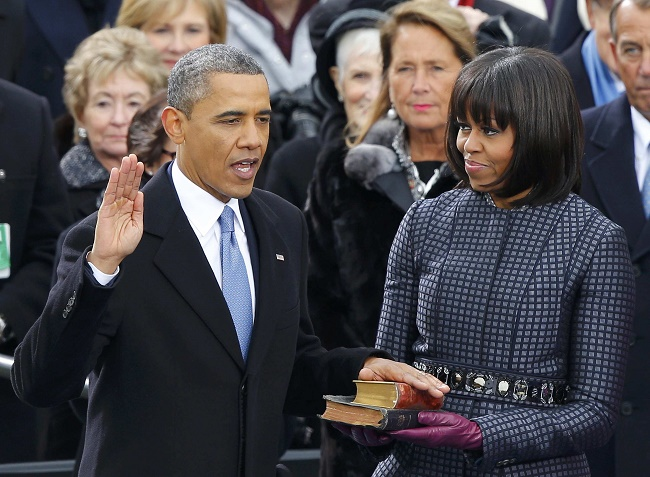 Barack Obama taking oath as US president