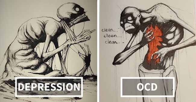 These dark illustrations of an artist's depiction of insanity and mental illness will shock you