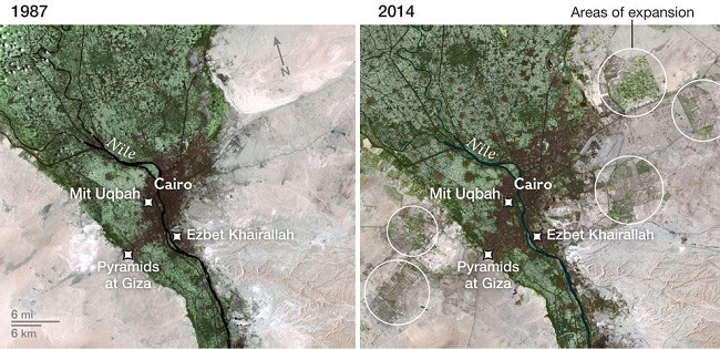 Urban expansion Egypt 1987-2014