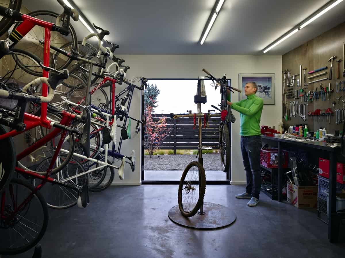 Room With 18 Bicycles Incorporated Into Active Couples - Cycle Shop