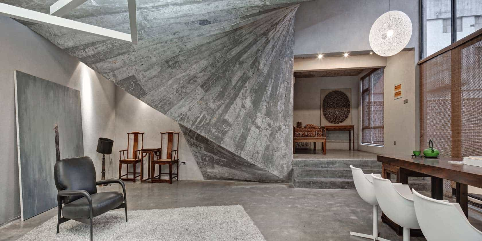 Concrete House Interior Advanced Digital Architecture And A Tree Define This