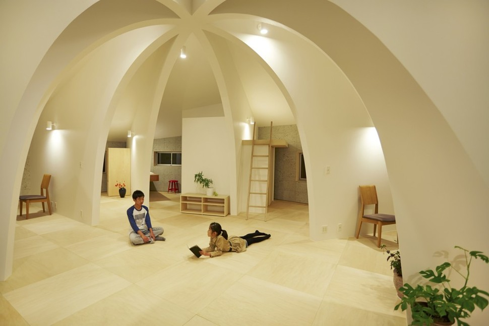 open concept japanese family home domed interior night lighting printer friendly page add plan plans collection
