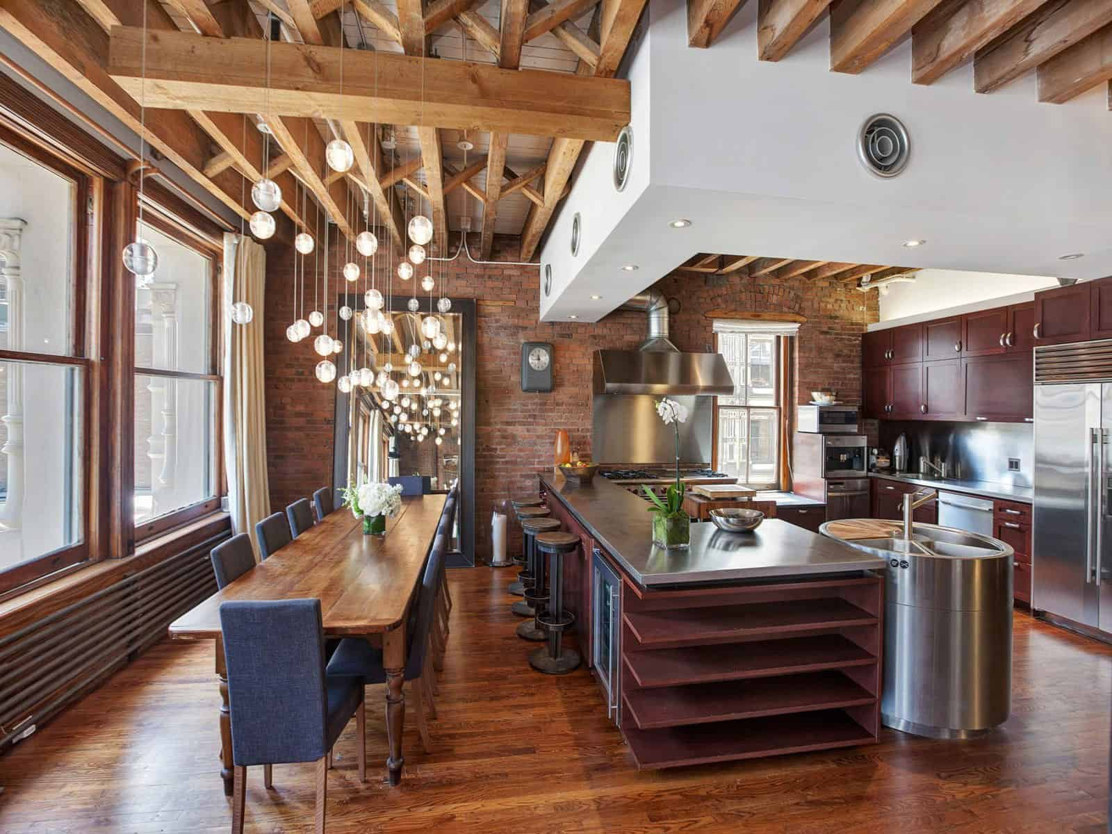 Loft Style Window Mirror Open Plan Apartment With Exposed Wood Beams And Iron Columns