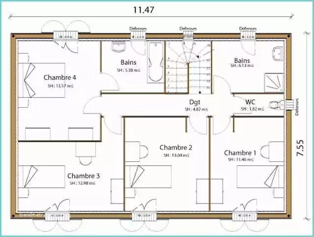 plan de maison 170m2