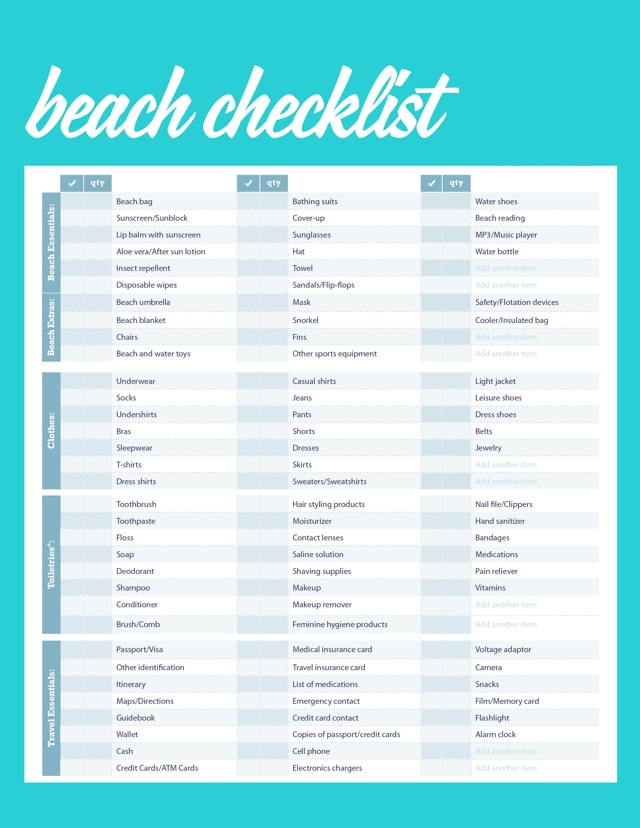 beach vacation travel checklist - Maggilocustdesign - Travel Checklist