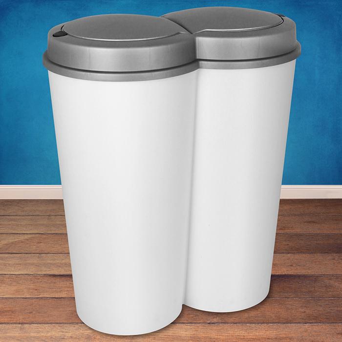 Details Zu 50l Duo Mülleimer Doppel Abfalleimer Papierkorb Müll Eimer Küche  2x25 Liter Weiß
