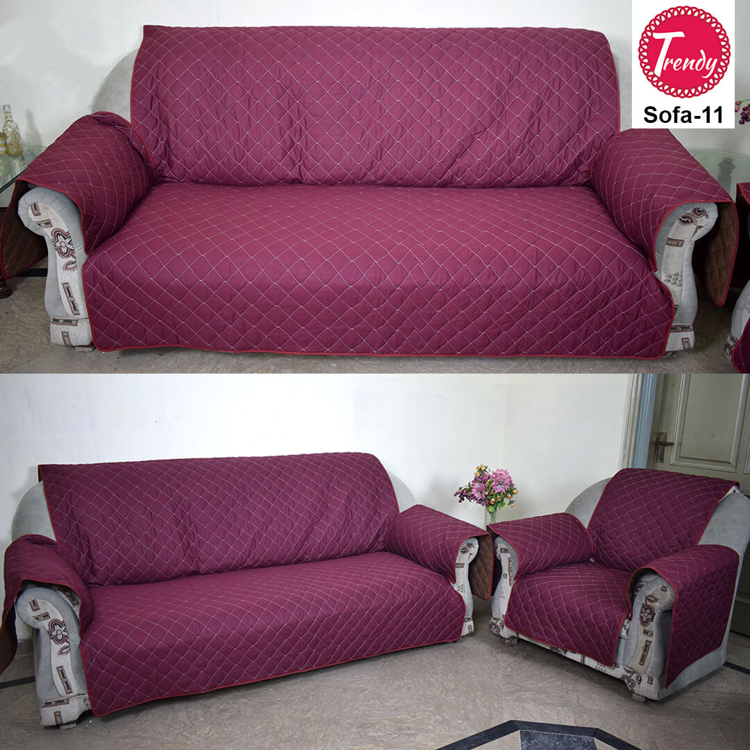 Sofa Quilting Fabric Maroon Quilted Sofa Cover Set With Diamond Quilting