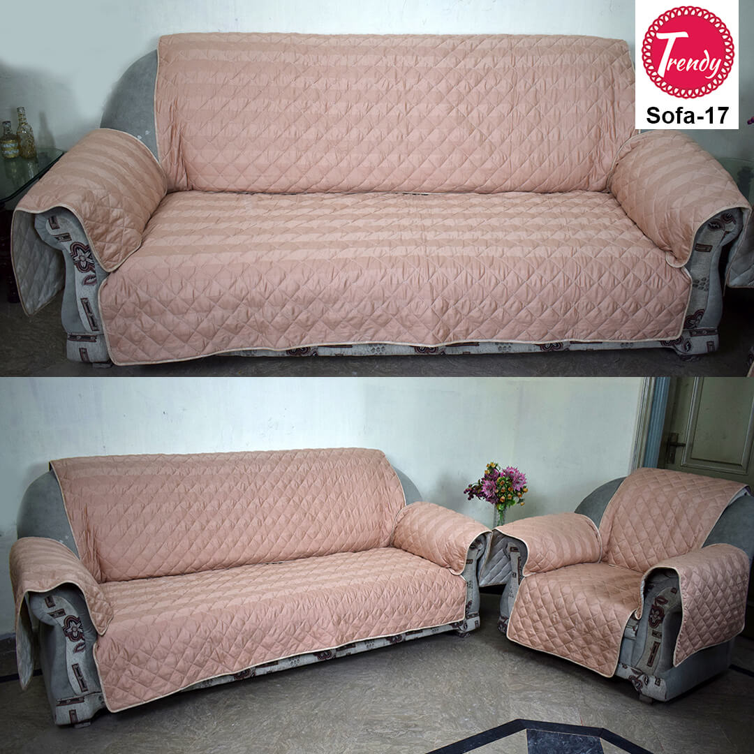 Sofa Quilting Fabric Peach Color Quilted Sofa Cover Set With Diamond Quilting Trendy