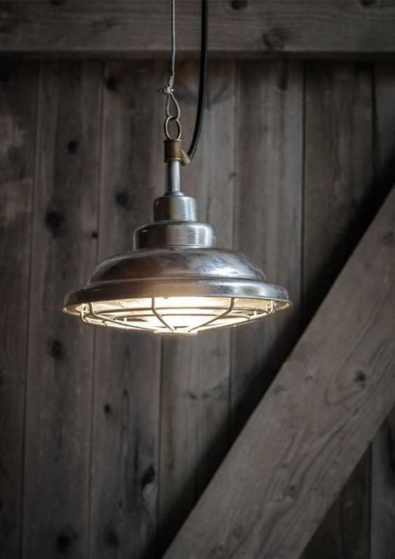 "Zitbank Hout Industriele Hanglamp Buiten ""st Ives Mariner Light"" Staal"